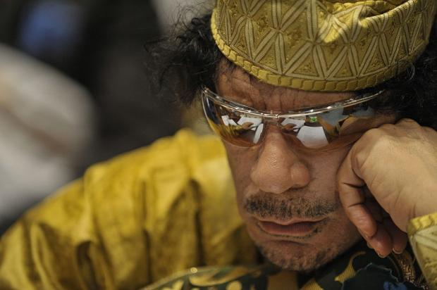 Close up of Qaddafi in sunglasses