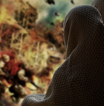 Back of woman in Islamic dress next to war scene