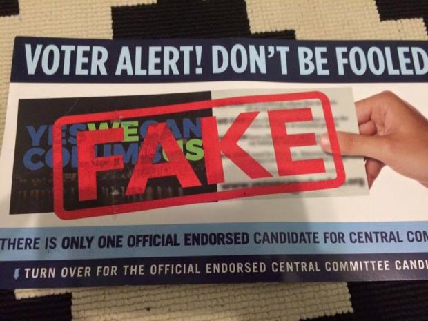 Flyer with the words FAKE large across it