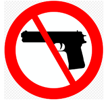 "Black gun with a red circle around it and a slash through it - a ""no"" symbol"