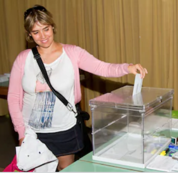 Young woman voting