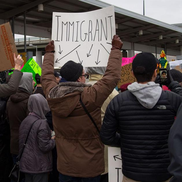 People protesting immigration ban at JFK airport