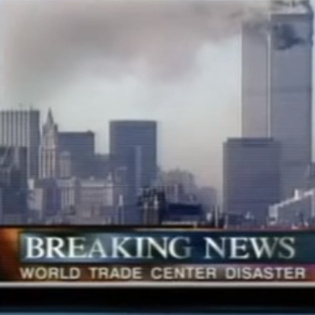 Twin towers burning