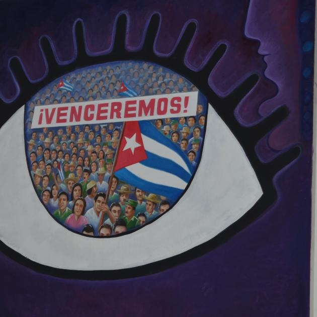 """Big eye poster with words """"Venceremos"""""""