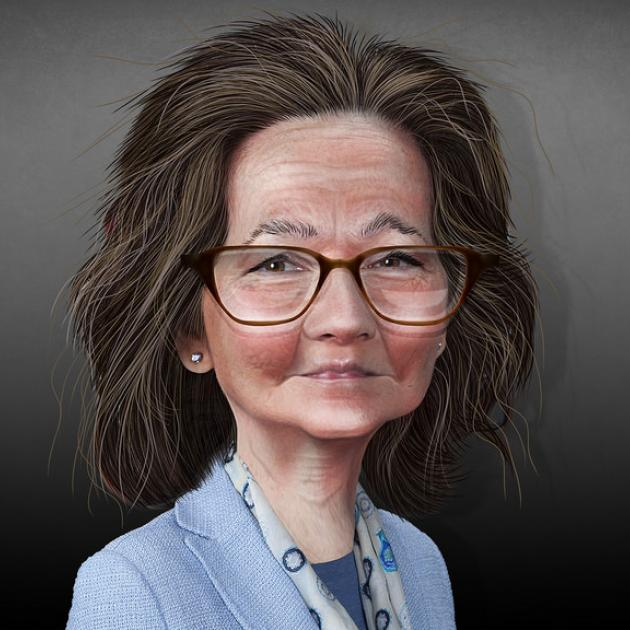 Caricature of white lady with glasses and brown hair