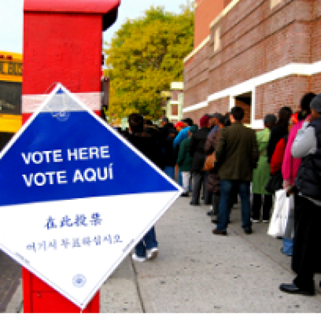 People standing in line to vote