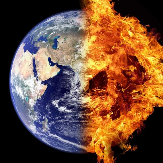 The Earth from space with half of it on fire