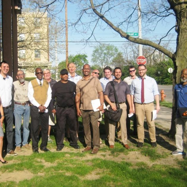 Newly-elected members of the Franklin County Democratic Party Central Committee assembled outside Ohio Democratic Headquarters on April 20.