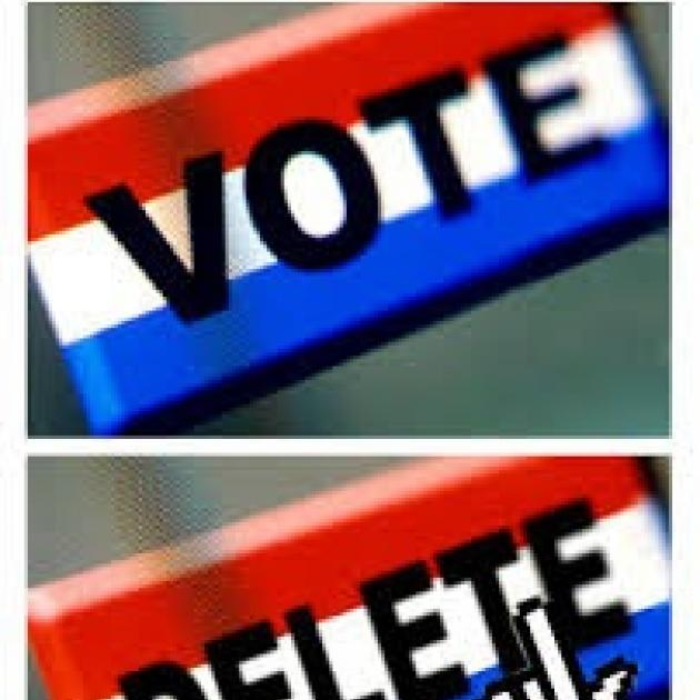 The word vote in one box and the word delete in a bottom box