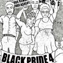Drawing of four young black people with fists in air and words Black Pride 4