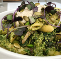A plate with lots of pasta and green foods on it