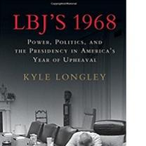 Black and white book cover with the words LBJ's 1968