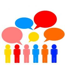 Different colored cartoon people talking in colored speaking bubbles