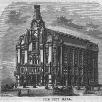 Black and white sketch of old city hall