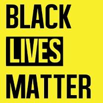 Yellow background with black words saying Black Lives Matter