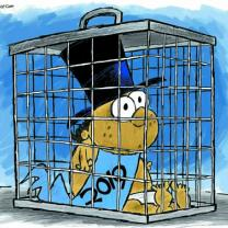 Baby in top hat with 2019 sash in a cage looking scared