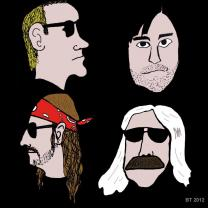 Cartoons of four guys heads in the band