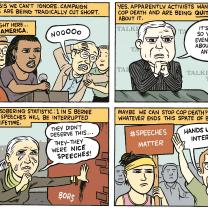 Comic about Bernie Sanders being interrupted by Black Lives Matters activists