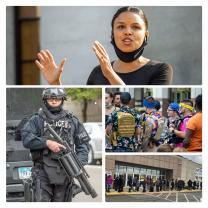 Collage of photos including a black woman talking, a guy with a rifle, people standing in line to vote and Boogaloo boys