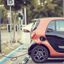 Electric car at a charging station