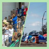 Rally and tent houseless