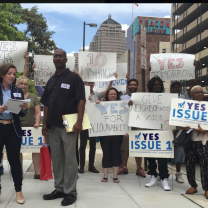 Crowd of people in downtown Columbus for Issue One