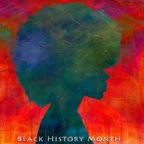 Colorful reddish background like a watercolor in bright vibrant colors, the silhouette of of a woman with a huge natural Afro in blue