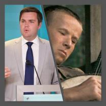 Two photos of a white man
