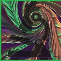 Microscope image on swirly colorful background