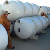 Cylinders of depleted uranium hexafluoride