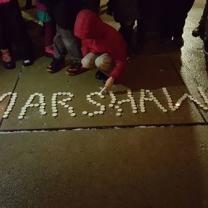 Candles spelling out Marshawn