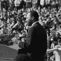 King speaking to a crowd