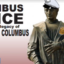 Columbus statue wearing a police hat and badge