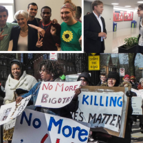 Montage of photos, one of a group of people posing with Jill Stein, middle aged woman with short gray hair, one of a lot of people holding signs and marching outside