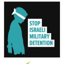Black Square with silhouette of young child with a blindfold and the words Stop Israeli Military Detention