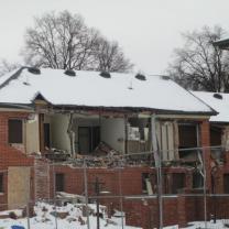 Building being demolished