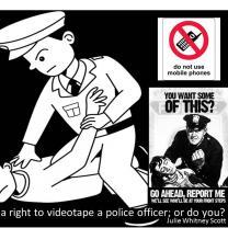 Cartoon of police holding man on ground