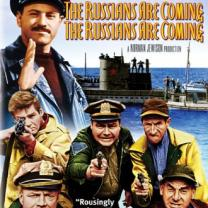 Movie poster of the Russians are coming with lots of guys coming off a ship like they are Russians menacing the US