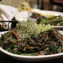 """The """"Good Good Salad"""" (front center), grilled vegetables (background)"""