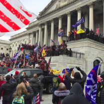 Crowd of Trump rioters outside the Capitol