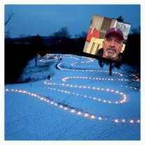 """Serpent Mound and big screen with face of Dave """"Coach"""" Daubenmire"""