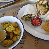 Cauliflower with peanut sauce and Moo Shu Wrap with tofu