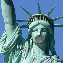 Statue of liberty with gag
