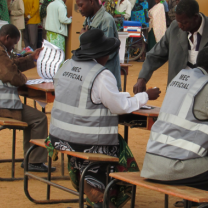People at voting site in Africa
