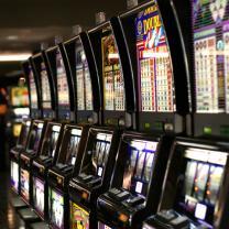 Row of flashy video slot machines