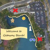 Birds eye view of quarry and words Welcome to Getaway Beach!
