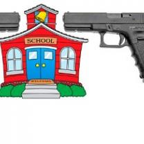 Drawing of a schoolhouse with two large guns on each side aimed at it