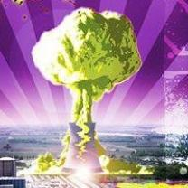 Purple background with nuke plant blowing up in a mushroom cloud