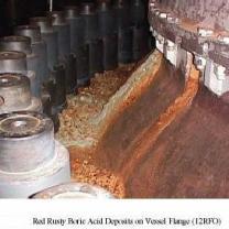 Red Rusty Boric Acid Deposits on Vessel Flange
