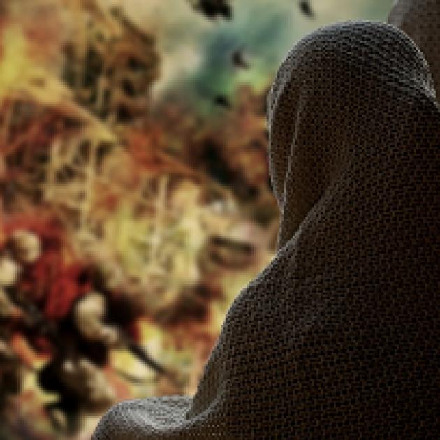 Back of woman in Islamic dress next to war scene
